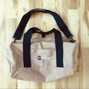 Pepsi Duffel Bag Tan Blue White Red Shoulder Strap